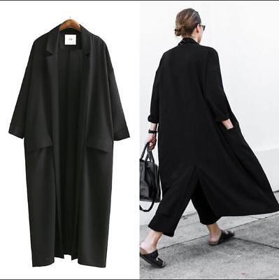 Details about Womens Spring Lapel Long Parka Cardigans Oversize Black Trench Coat Split Jacket