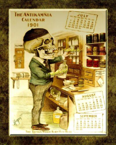 "1901 /""KEEP HIM BUSY/"" PHARMACY SKELETON 8x10 Antikamnia Halloween Art print"
