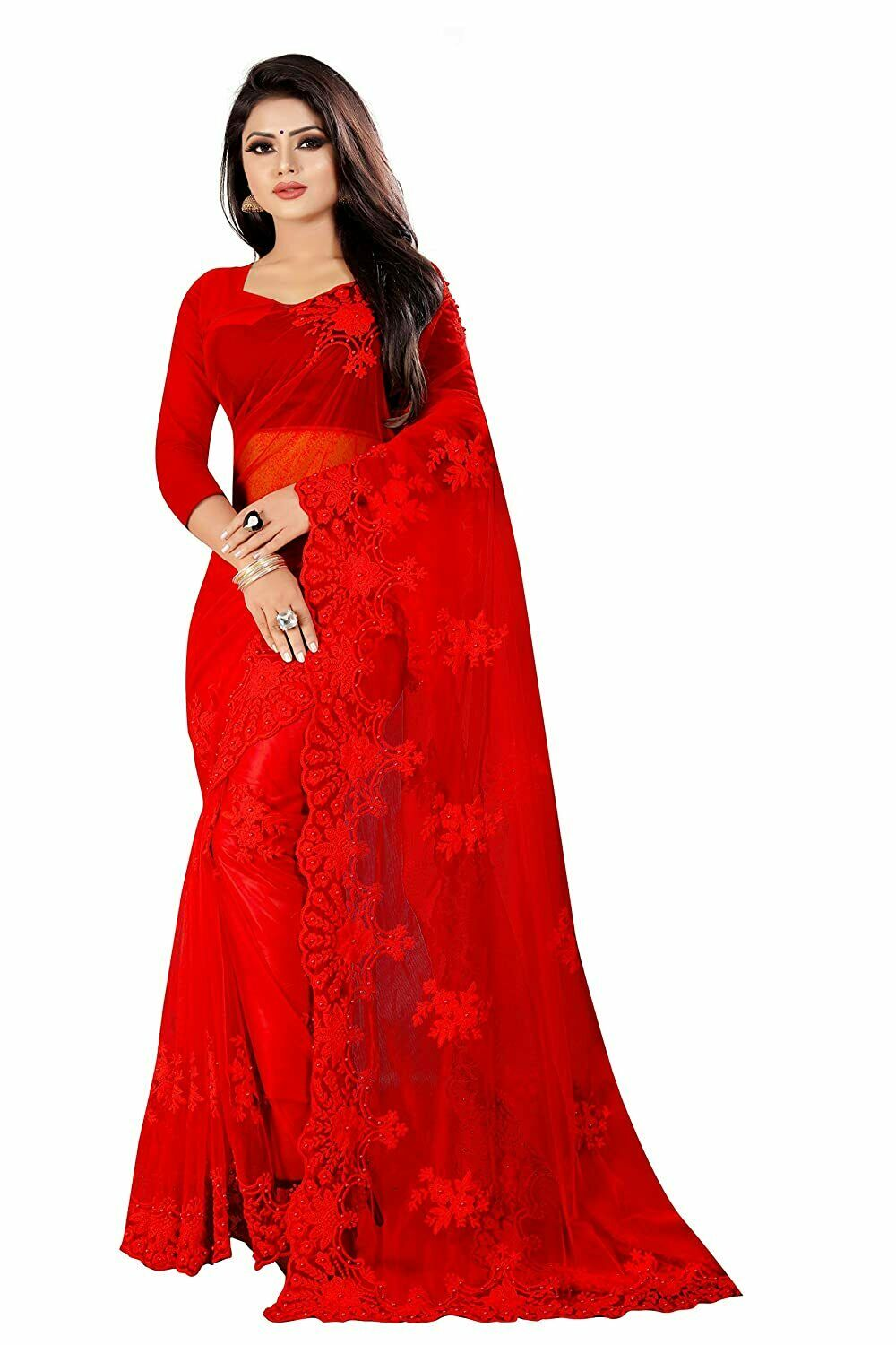 Indian Designer Women's Net Saree With Unstitched Blouse Piece, Red