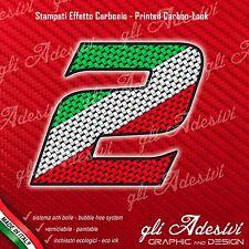 Adesivo Stickers NUMERO 2 moto auto cross gara Carbon Effect Tricolore Ita 5 cm