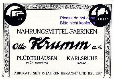 Collectibles Generous Food Factory Krumm Pluderhausen German 1916 Ad Karlsruhe Advertising