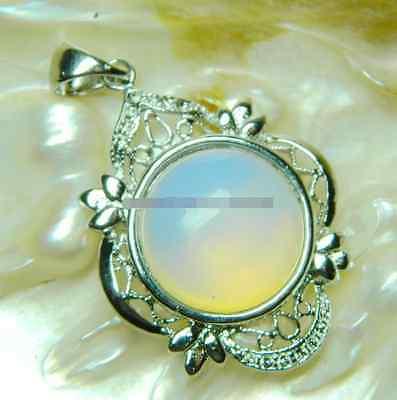 New Beautiful! 18mm Sri Lanka Moonstone Gems Pendants 17'' White AA-005