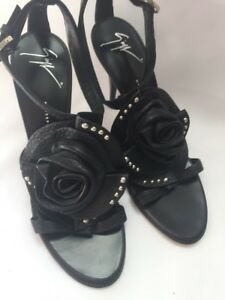 Giuseppe-Zanotti-Sandals-Shoes-Rosette-Leather-Black-US-6-36-SARAGEIN-750