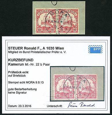 Kamerun 1913 Briefstück 22 b Paar Mora 9/9/13 Kurzbefund Steuer BPP / 82