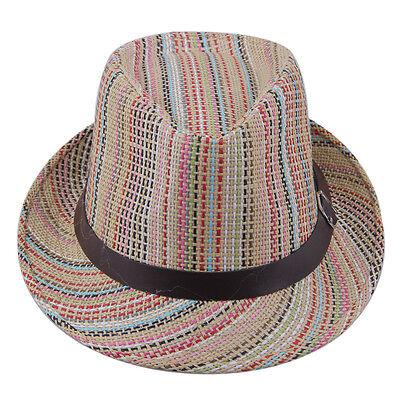 Women Men Striped Fedora Trilby Hat Summer Beach Straw Gangster Cap Leather Band
