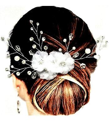 Brautschmuck Haarschmuck Haarkamm Blumen Tüll Weiß Perlen Ivory Kristall Klar Erfrischung