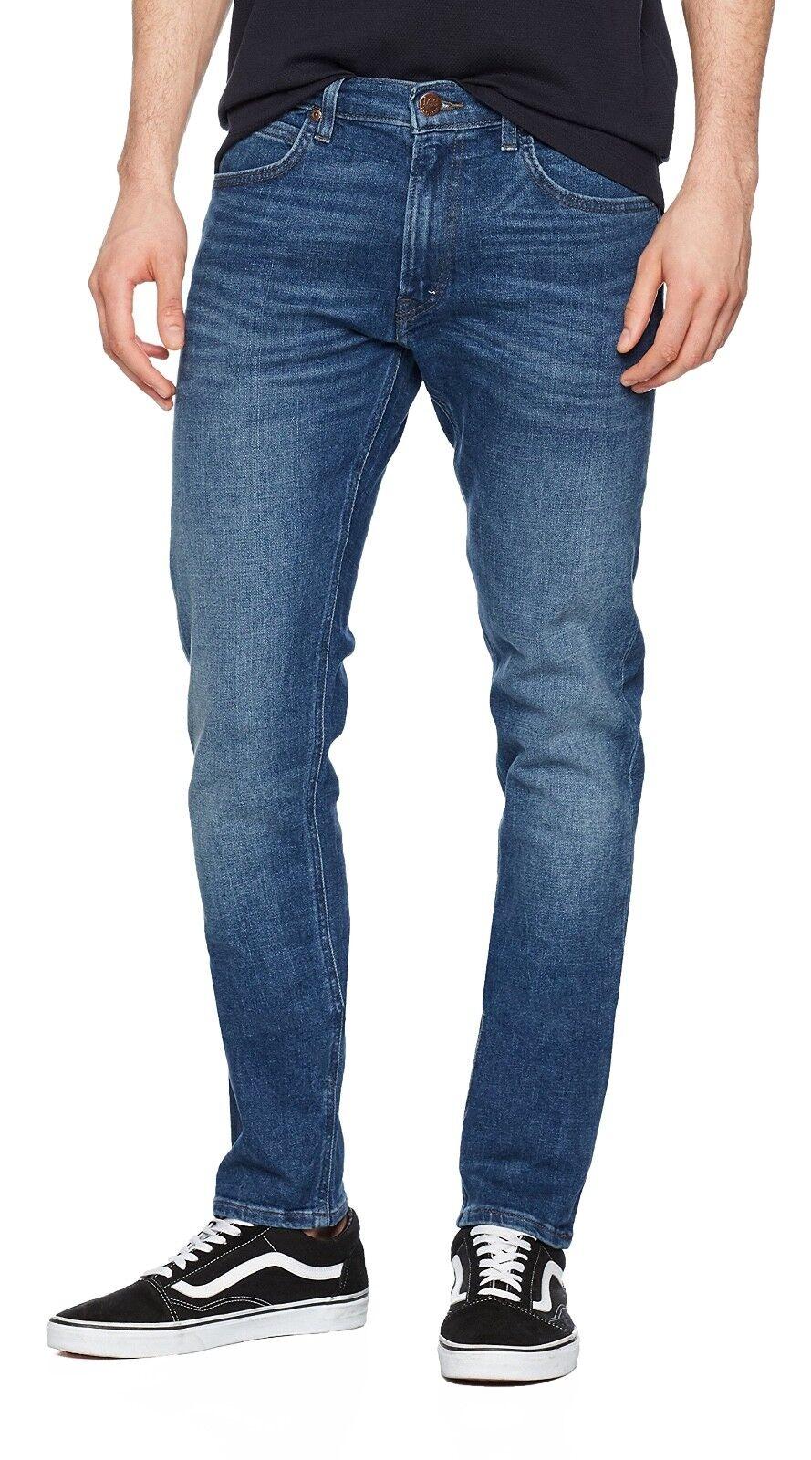 Lee Luke Slim Tapered Jeans denim nuova linea uomo Stretch Regular Rise fresca Blu
