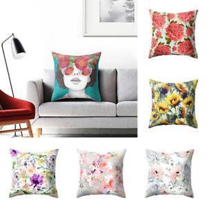Am-KE-KQ-Flower-Print-Pillow-Case-Bed-Sofa-Waist-Throw-Cushion-Cover-Home-Dec