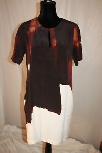 ecru-Dress-Corporate-style-Short-Sleeve-100-Silk-with-pockets-size-small