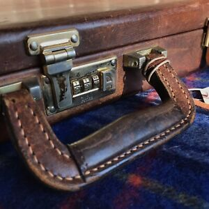RARE-VINTAGE-1980s-USA-DISTRESSED-LEATHER-HARDSIDE-MACBOOK-BRIEFCASE-BAG-R-898