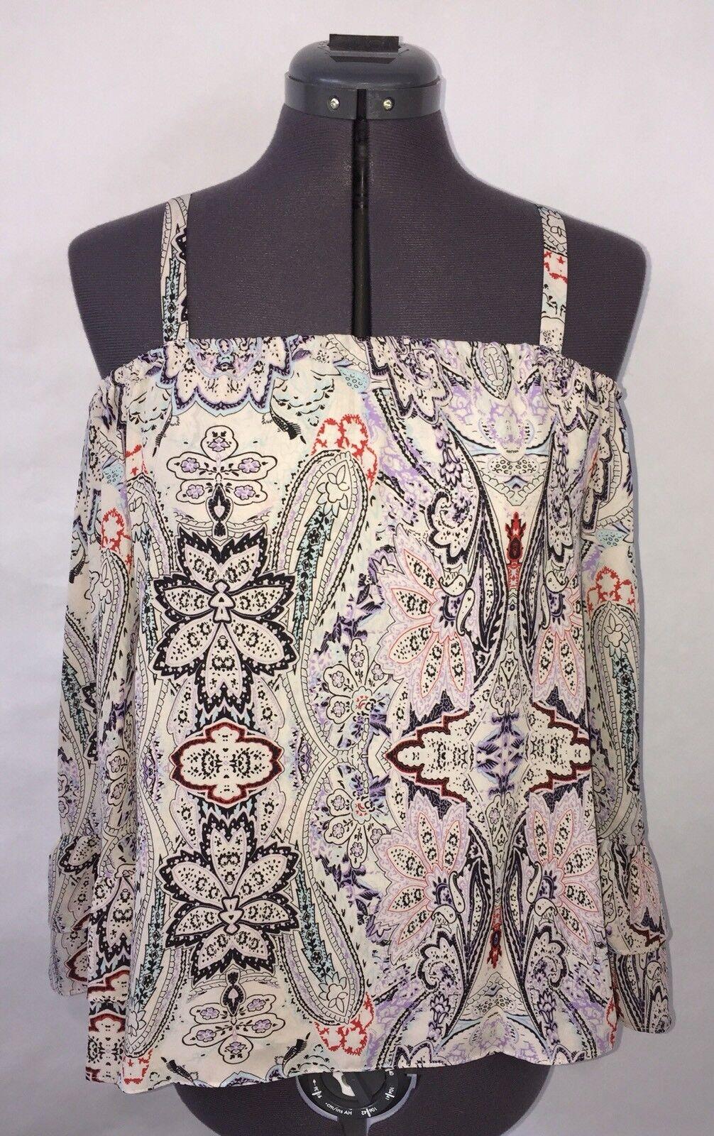 NWT PARKER damen's Henna Print Ruffle Cold Shoulder Top XS OverGrößed Bell Sleeve