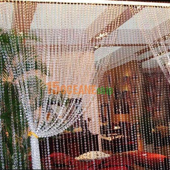 30M Girlande Perlenvorhang Strang Weiß Bergkristall Acryl Perlen Hochzeit Deko