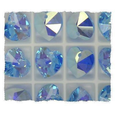 **Genuine Swarovski Aquamarine AB Crystal Heart 6228 Pendant