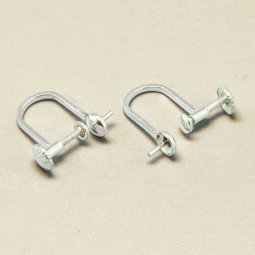 Non-pierced earring Pair Ear screw//clip component 925 Sterling Silver finding