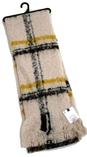 MENS CREAM BLACK YELLOW BOUCLE CHECK TEXTURED SCARF