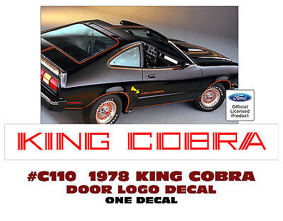 ONE DECAL DOOR NAME LOGO C110  1978 KING COBRA