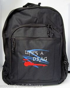 Drag Racing black backpack book bag Top Fuel Dragster NEW personalized