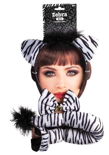 Zebra Kit Ears Tail Animal Fancy Dress Up Halloween Adult Costume Accessory
