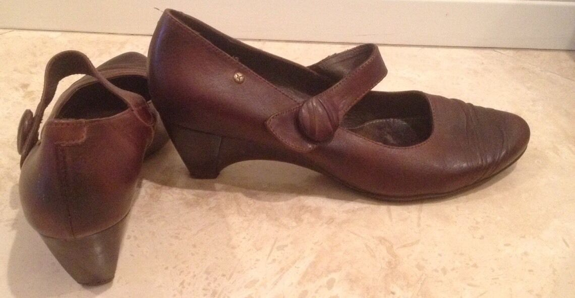PIKOLINOS braun Leather Leather Leather Mid-Heel Comfort Mary Jane Pumps 10.5M 41EU b74082