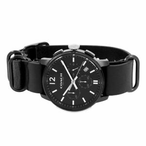 2b31b4828dd Coach Men s Bleecker 14602021 Black Leather NATO Strap Chronograph Watch