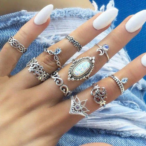10Pcs Femme Cristal Argent Boho Fashion Gem Moon Midi Doigt Knuckle Rings Set