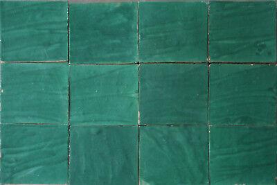 Handarbeit Wand Kachel Fliese 10 Zellige Fliesen grün im Großformat 20x20x2 cm