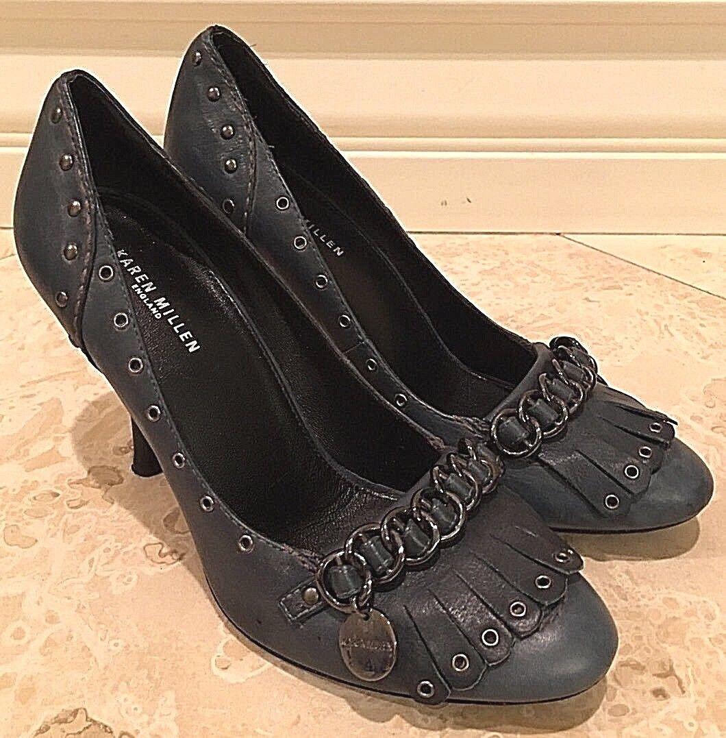 Karen Karen Karen Millen England Azul Cuero Clásico Zapatos de tacón Bomba de firma con flecos EU38 Buen  compras en linea