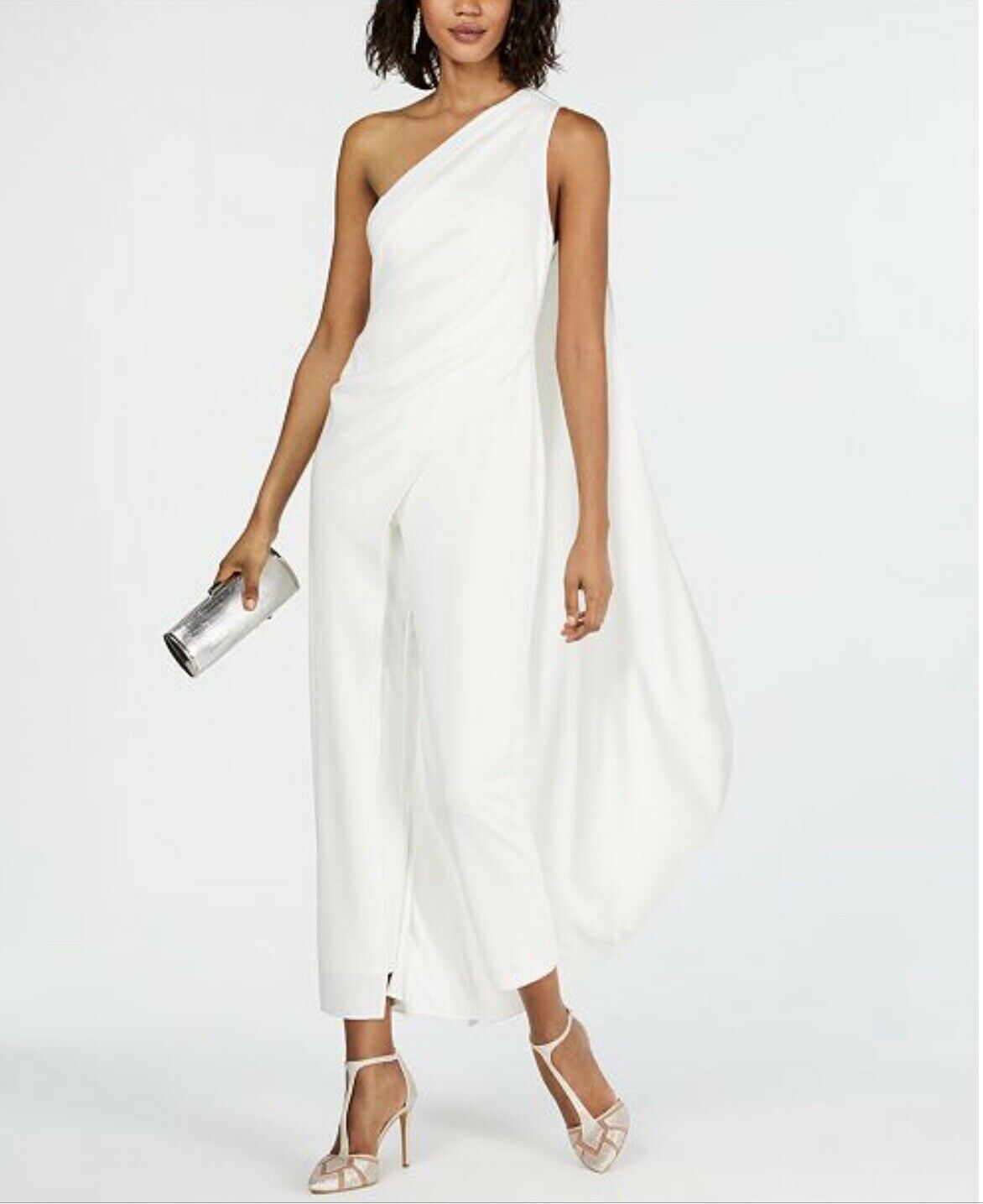Adrianna Papell One -Shoulder Crepe Jumpsuit, Ivory, 6