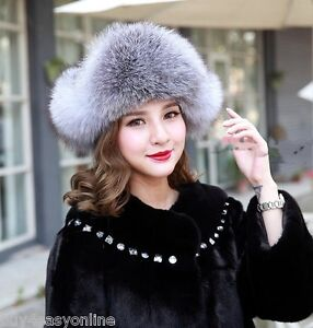 Women Real Fox Fur Hat Russian Style Winter Warm Earflap Cap Snow ... a9d4ad1f9cd
