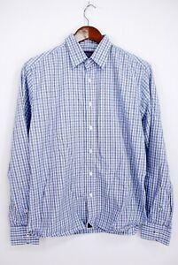 UNTUCKit-Men-s-Slim-Navy-Blue-White-Check-Cotton-L-S-Button-Front-Shirt-Medium