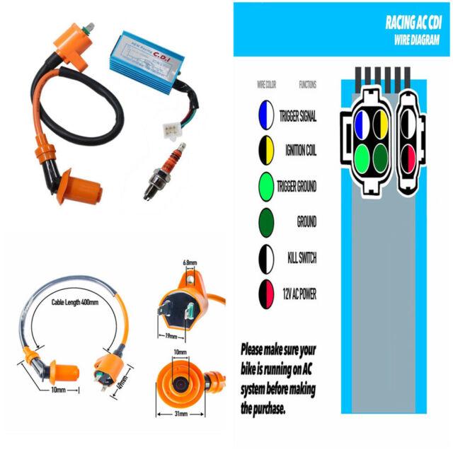 6 Pins High Performance CDI Ignition Coil Plug for Gy6 50cc -150cc  Pin Cdi Cc Atv Wiring Diagram on