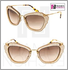 39eb91a219ad MIU MIU NOIR 04Q Opal Beige Embellished Gold Cat Eye Crystal ...