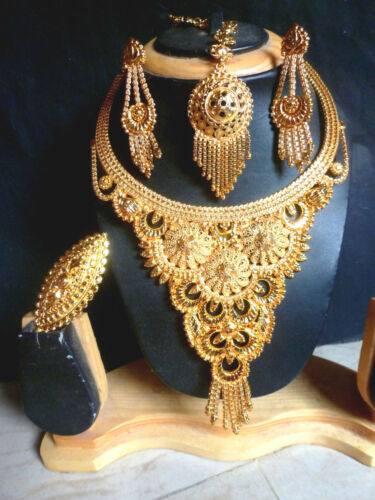 22K Gold Plated Heavy Work Indian Wedding  Party Necklace Earring Tikka