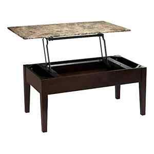 Faux Marble Lift Top Storage Coffee Table with Hidden Storage