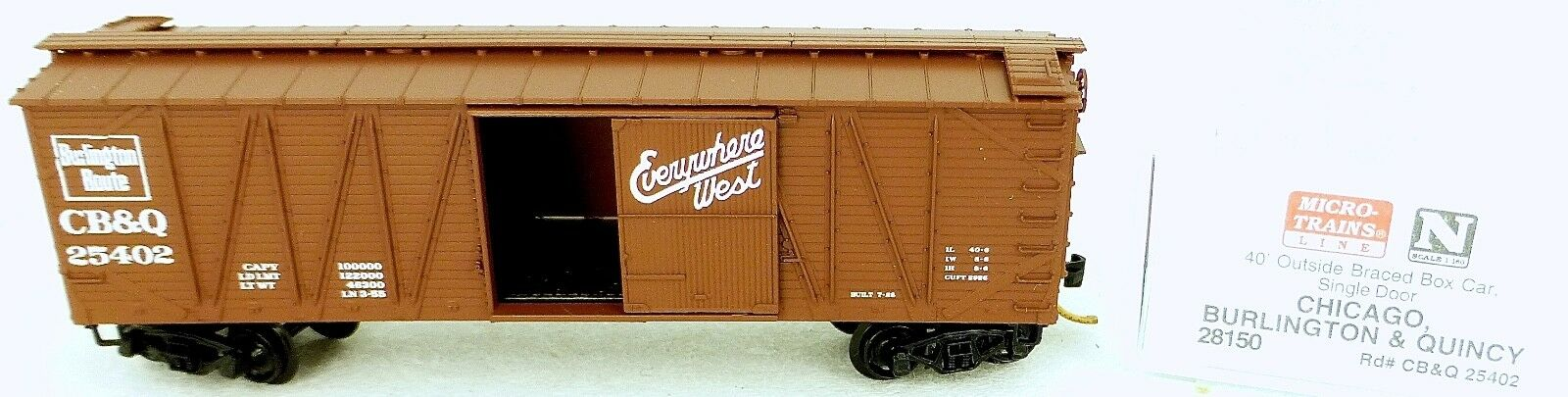 40 25402 ´ Outside Braced Boxcar Cb&q 25402 40 Micro Trains Line 28150 N 1 160 C Å 40f9d5