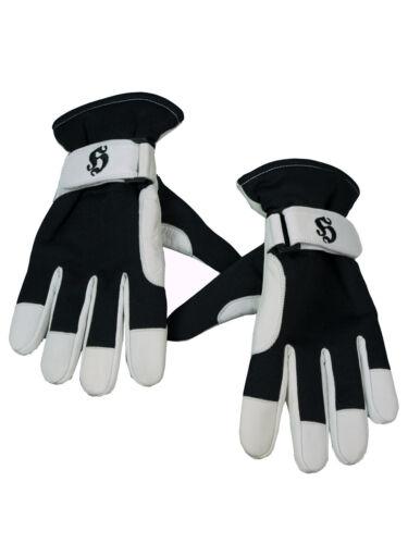 Weiß  5012 Lederhandschuhe Old H Gloves Schwarz Hooligan Handschuhe