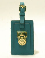 Michael Kors Leather Hamilton Travel Tag In Turquoise