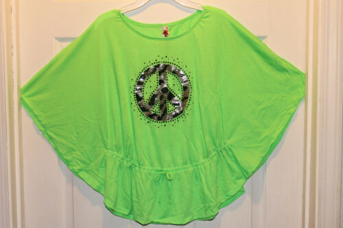 NWT KNITWORKS PEACE Animal  Leaopard sequin green Neon girl shirt junior 20 plus