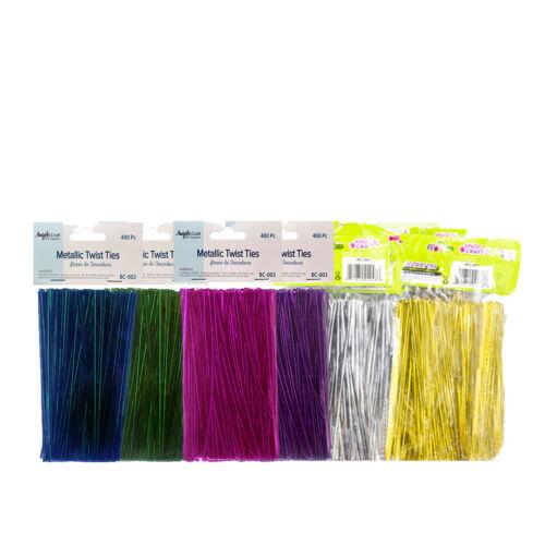 6 Colors Free USA Shipping 2400 pcs 4/'/' Metallic Twist Ties