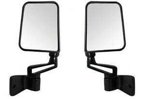 Manual Side View Door Mirrors Left Right Pair Set Chrome For 87-02 Jeep Wrangler