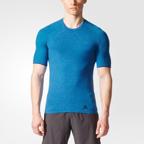 New Adidas Primeknit Running Fitted Tee Athletic T Shirt Wool Gym Blue CE5816