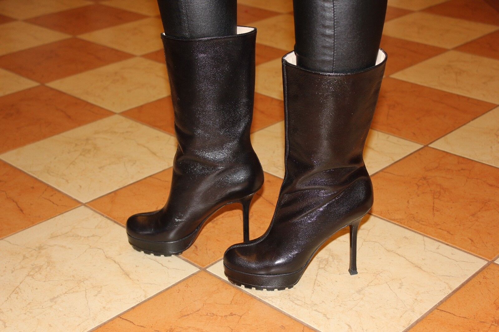Yves Saint Laurent authentic designer women patent leather boots heels size 5