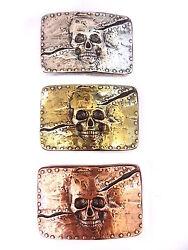 Gürtelschnalle Totenkopf skull belt buckle Wechselschnalle kupfer silber 4 cm