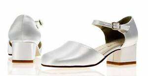 Stunning Ivory Satin Bridesmaid Flower Girls Shoes Sizes 1,2,3,4,5,6 Willow H/H
