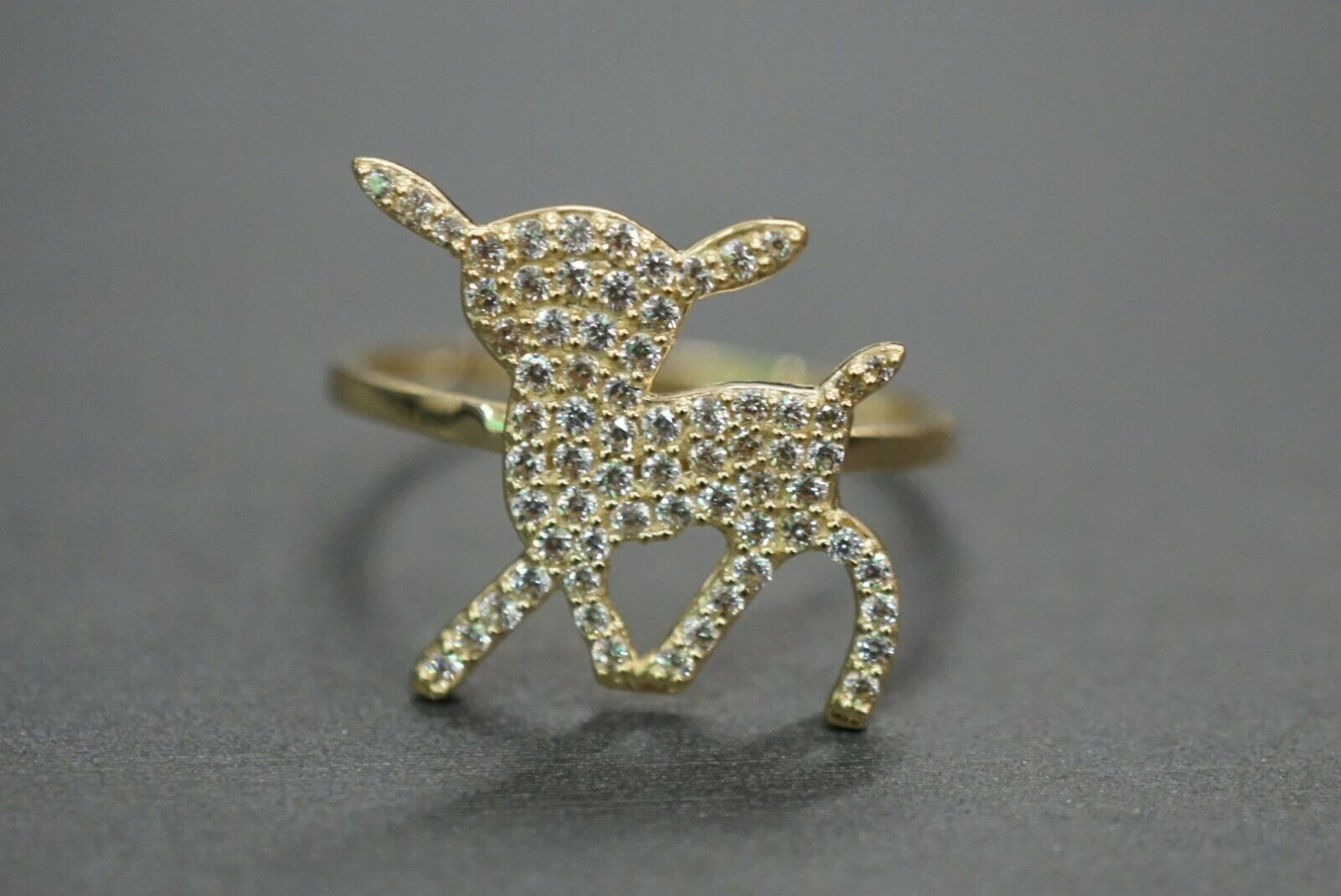 10K Solid Yellow gold Cute Bambi Deer With CZ Ring. Size 7.5