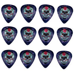 12-Pack-DAY-DEAD-SUGAR-SKULL-ROSE-Medium-Gauge-351-Guitar-Picks-Plectrum