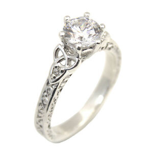 Image Is Loading Trinity Knot Diamond Ring 6 Claw Sterling Silver
