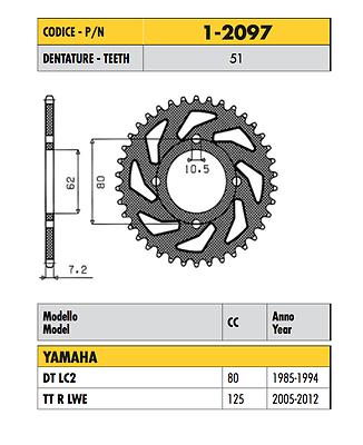 1-2097 - Corona Passo 428 Per Yamaha Tt R Lwe 125 2005 - 2012