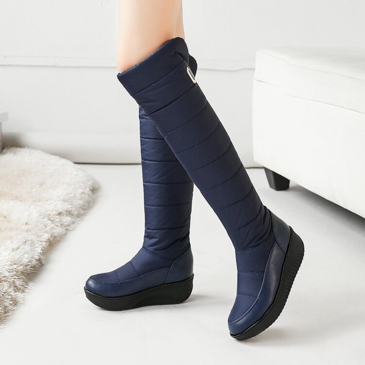 Metal Decor Womens Fur Lined Hidden Heels Warm Winter Outdoor Knee High Boots