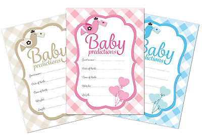 Baby shower prediction game, pack of 16, pink, blue or neutral check designs